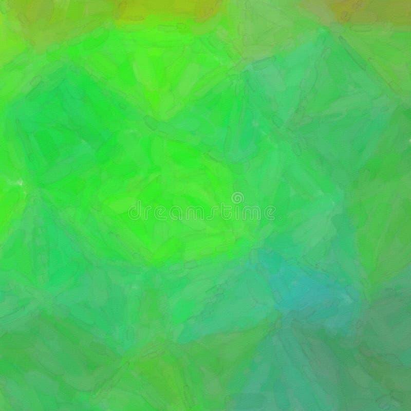 Illustratie van Vierkante groene en bruine Abstracte waterverfachtergrond stock illustratie
