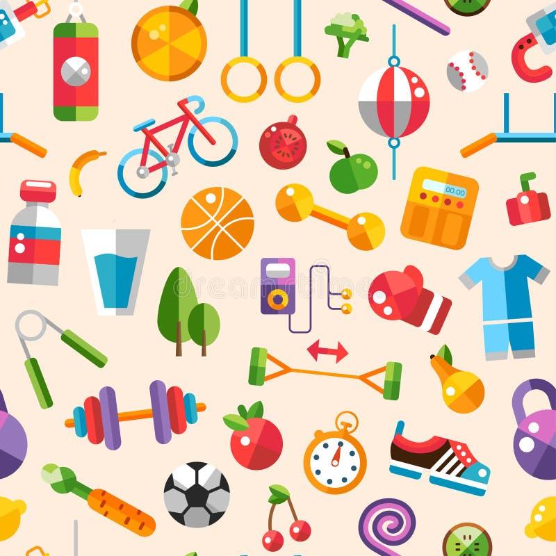 Illustratie van vlakke ontwerpsport, fitness en stock illustratie