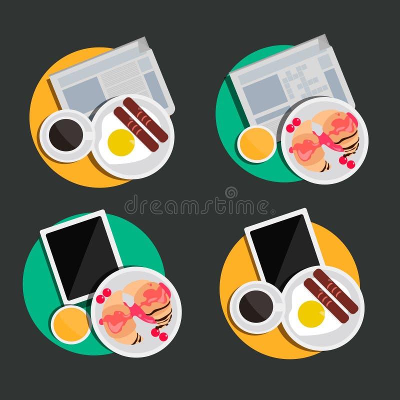 Illustratie van voedsel met gadgets royalty-vrije stock foto's