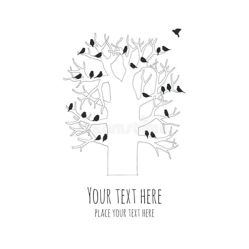 Illustratie van vogels op een boom stock illustratie