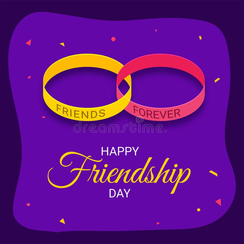 Illustratie van vriendschapsband met modieuze teksten Gelukkige Friendsh royalty-vrije illustratie