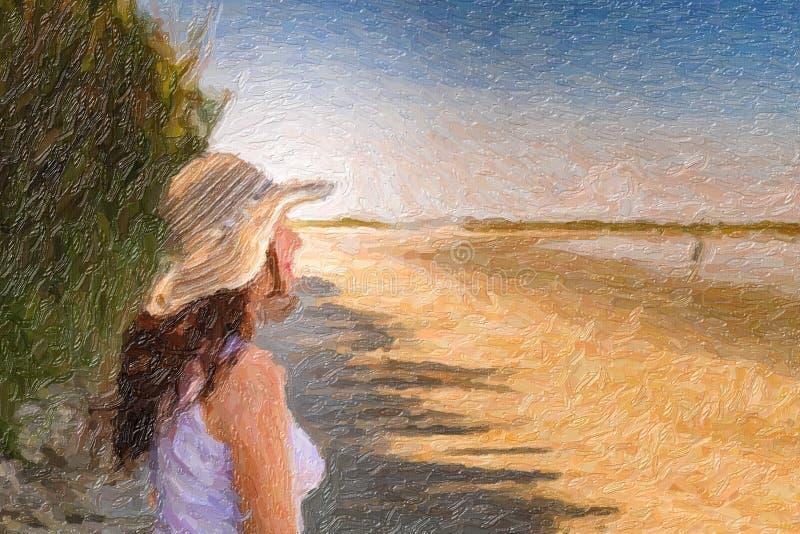 Illustratie van vrouw op strand stock fotografie