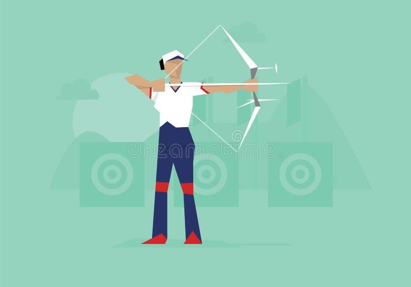 Illustratie van Vrouwelijk Archer Competing In Event stock illustratie