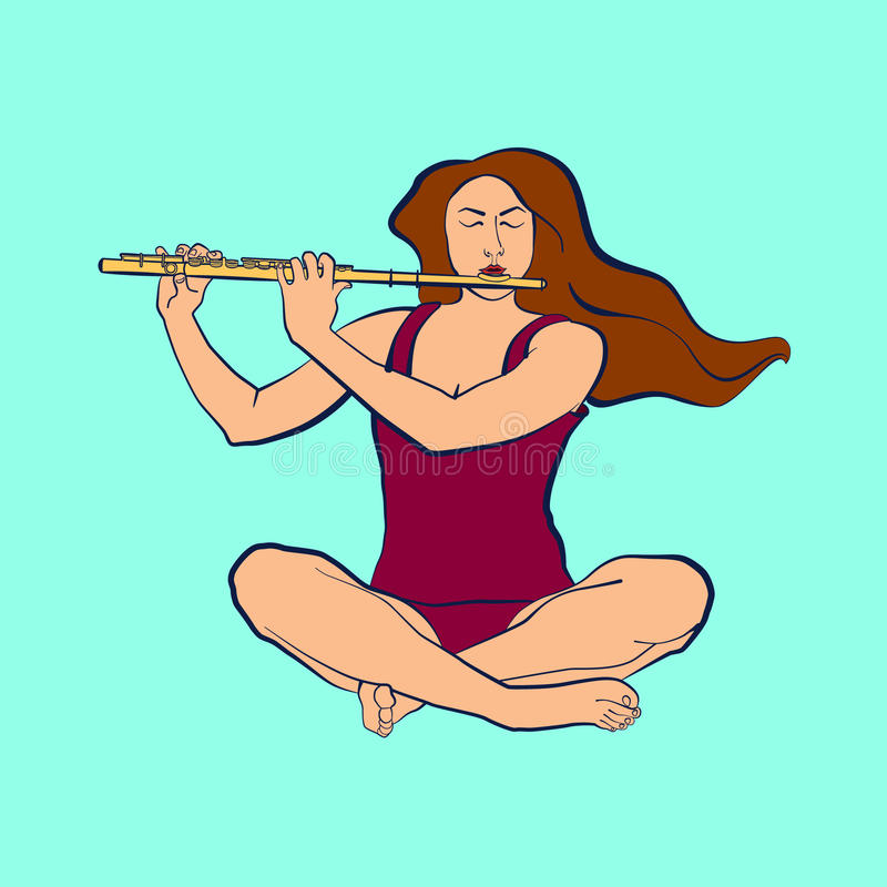 Illustratie van vrouwenzitting in sukhasana en het spelen fluit royalty-vrije stock foto