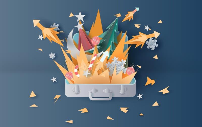 Illustratie van vuur en van de vuurwerkkunst decoratie in Kerstmis met kofferconcept Creatief gesneden ontwerpdocument en ambacht royalty-vrije illustratie