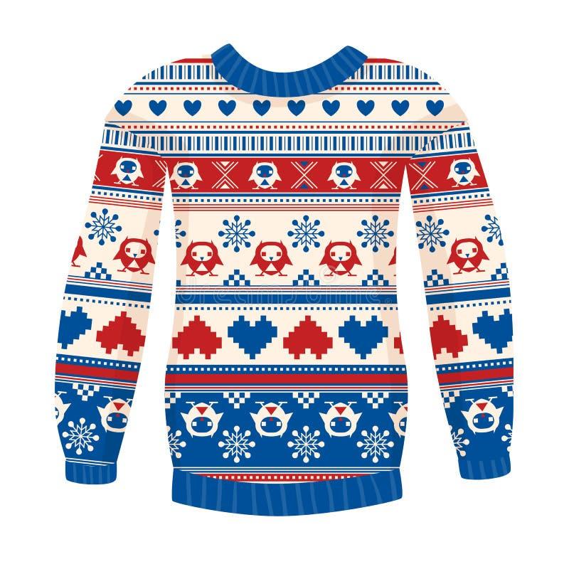 Illustratie van warme sweater met uilen en harten. Rood-blauw vers royalty-vrije illustratie