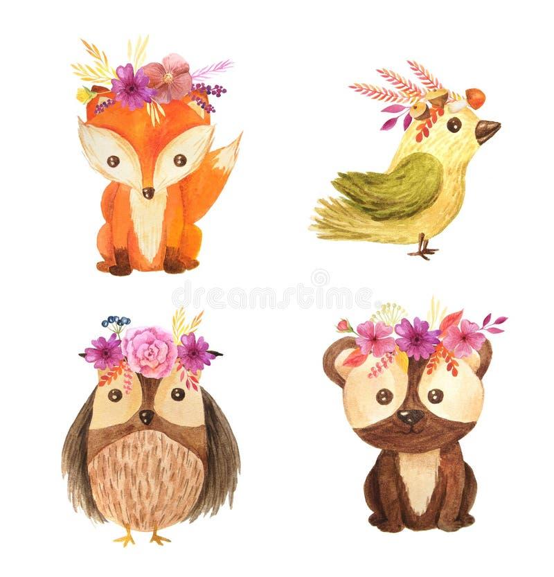 Illustratie van waterverf de bos dierlijke kinderen