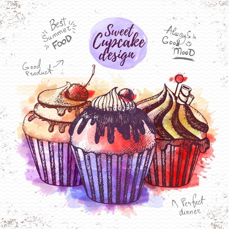 Illustratie van waterverf de zoete cupcake stock illustratie