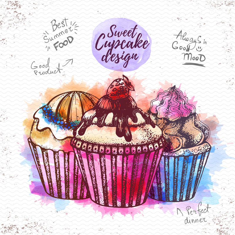 Illustratie van waterverf de zoete cupcake royalty-vrije illustratie