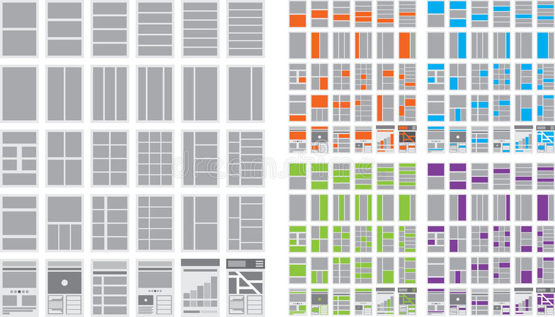 Illustratie van Websitestroomschema's en Overzichten van de website vector illustratie