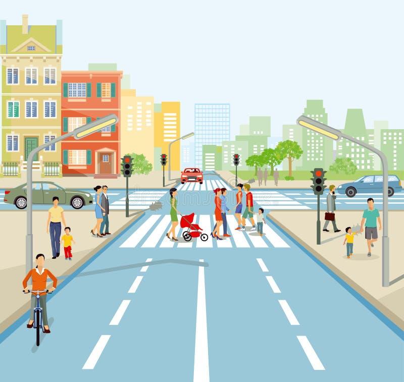 Illustratie van wegverbinding met voetgangers en auto's royalty-vrije illustratie