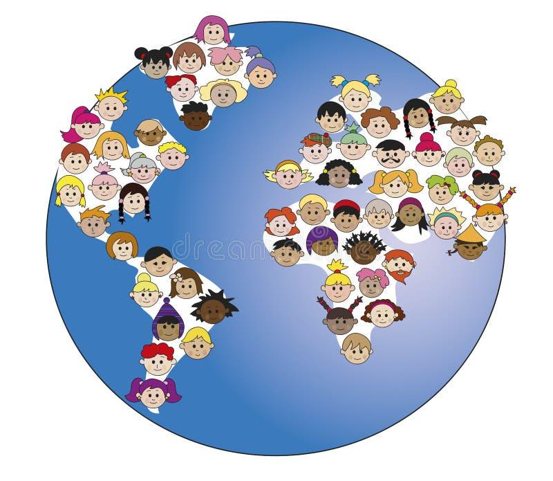 Kinderen in wereld royalty-vrije illustratie