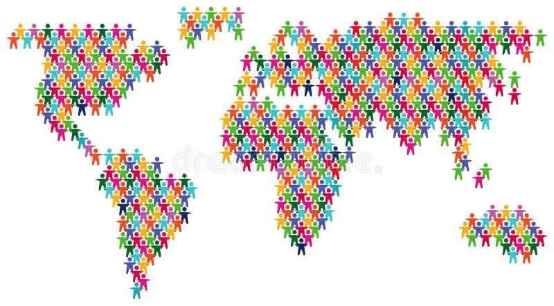 De kleurrijke kaart van de mensenwereld stock illustratie