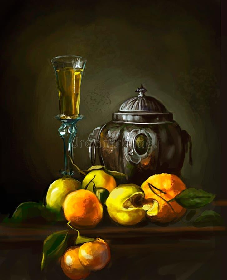 Illustratie van wijn en perziken op de lijst vector illustratie