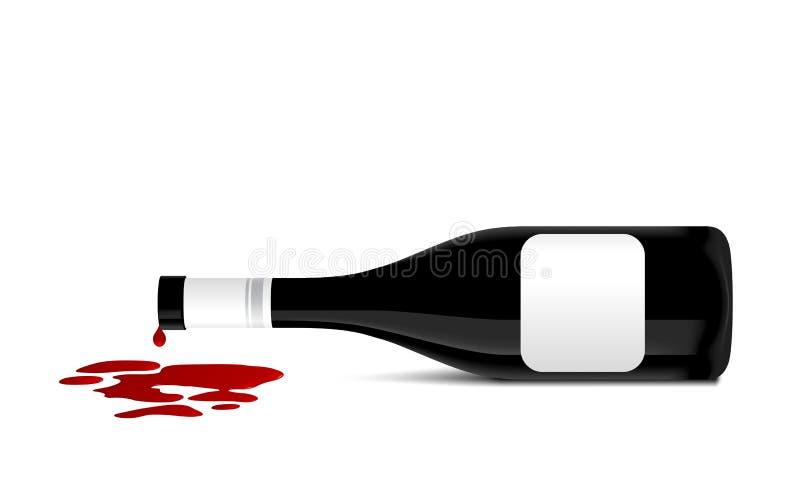 Illustratie van wijnfles dat rode wijn morst royalty-vrije illustratie