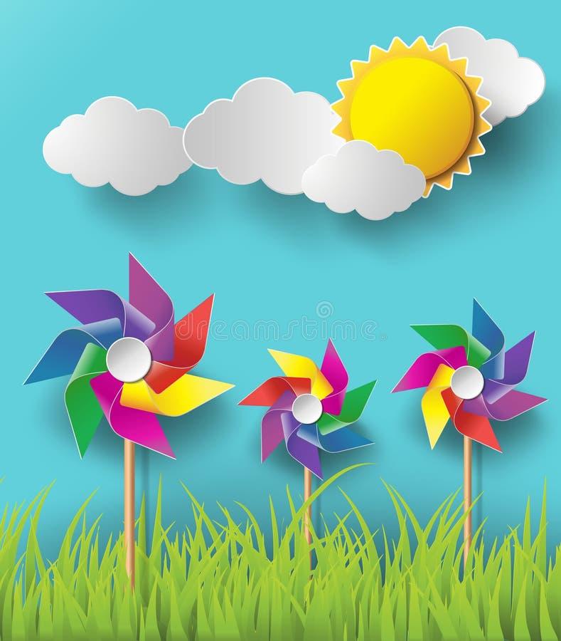 Illustratie van windmolens die in de bewolkte dagen blazen vector illustratie