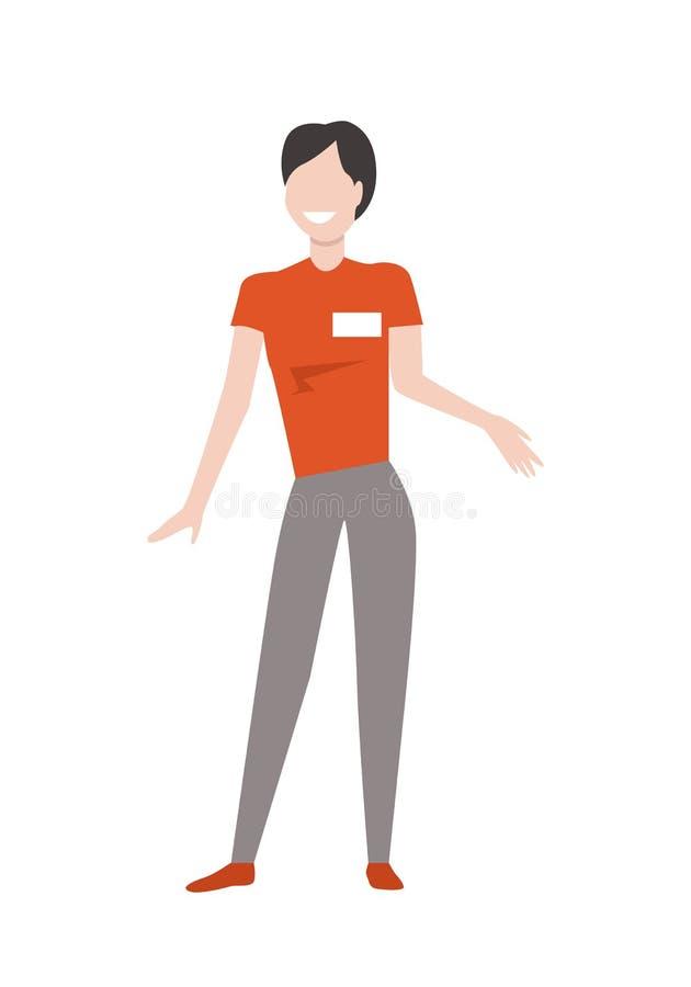 Illustratie van winkel de Hulpwoman character vector stock illustratie