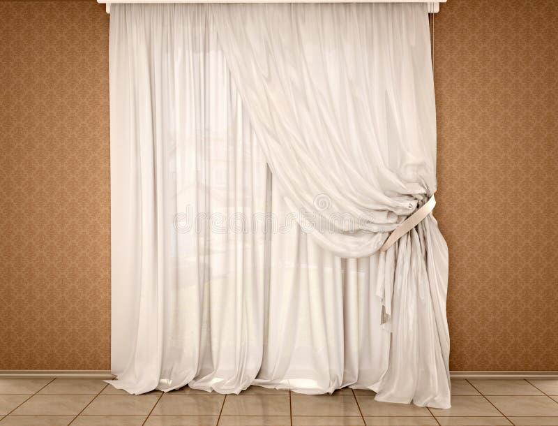 illustratie van witte gordijnen op de donkere muren stock illustratie