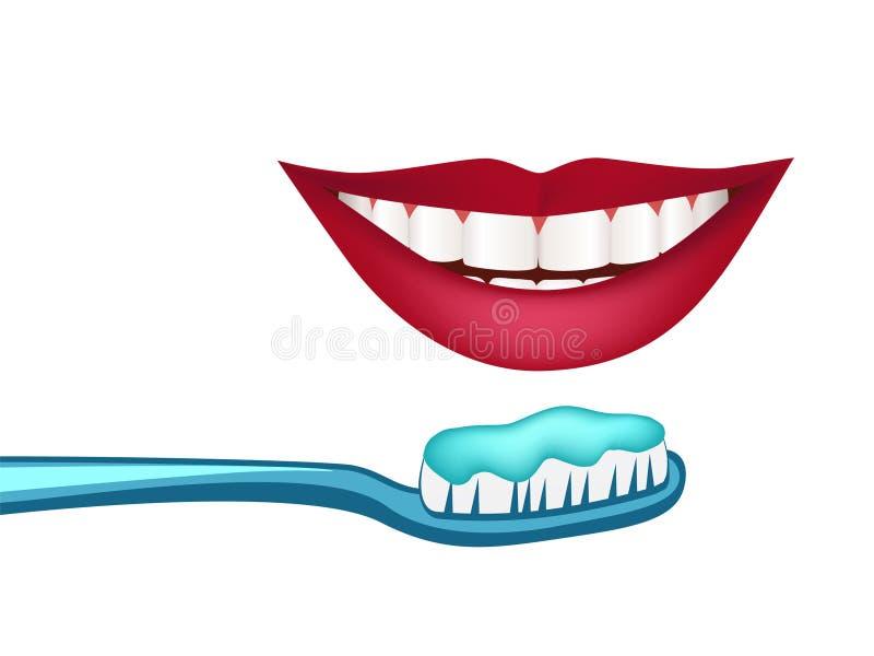 Illustratie van witte tanden en gezonde glimlach vector illustratie