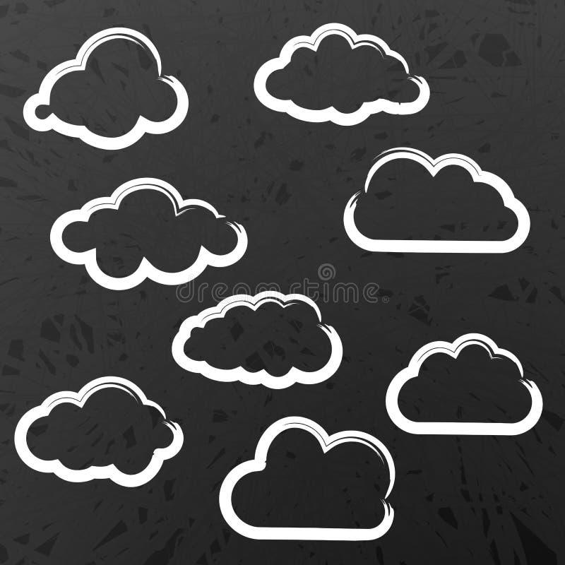 Illustratie van wolkeninzameling op Schoolbord royalty-vrije illustratie