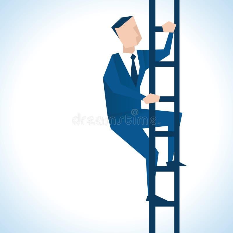 Illustratie van Zakenman Climbing Ladder royalty-vrije illustratie