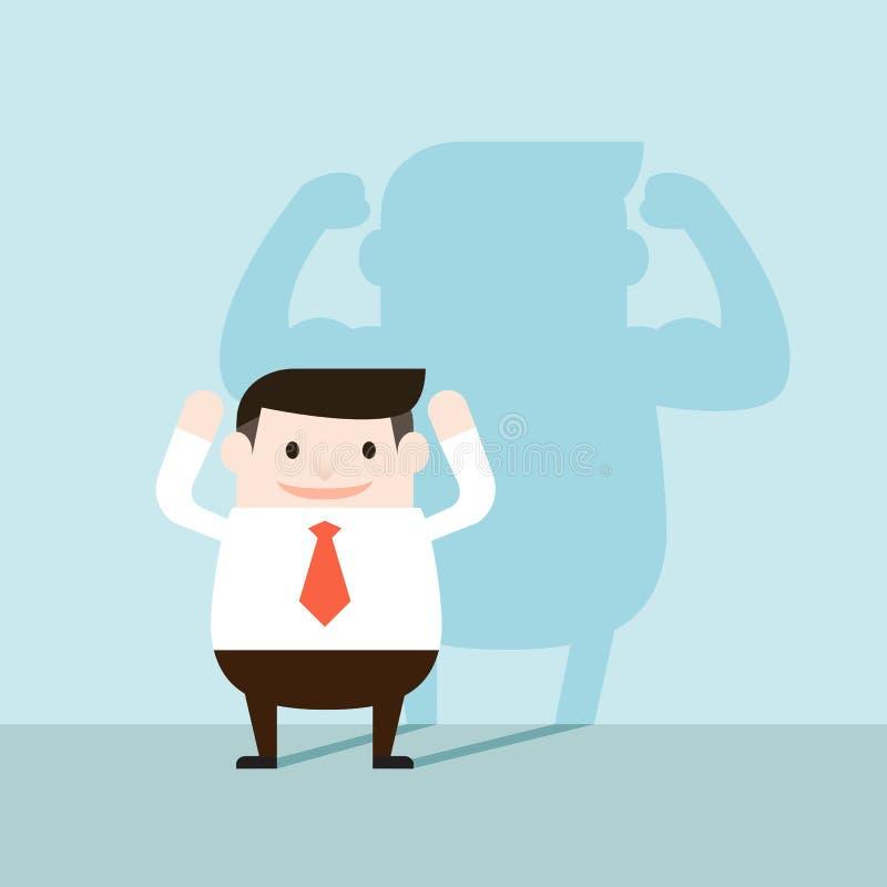 Illustratie van zakenman en sterke schaduw op de muur stock fotografie