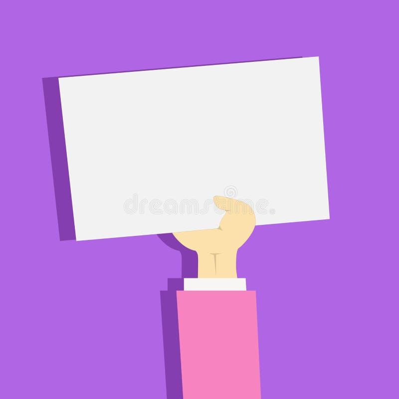 Illustratie van Zakenman Hand Holding Upward een Leeg Document met Schaduw Voorarm die Schoon Wit Geplooid Blad opheffen royalty-vrije illustratie