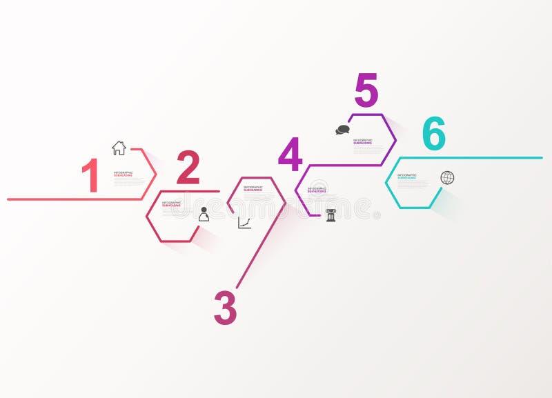 Illustratie van zes de kleurrijke hexagon vectorvooruitgangsstappen met pictogrammen en plaats voor uw bedrijfsinformatie vector illustratie