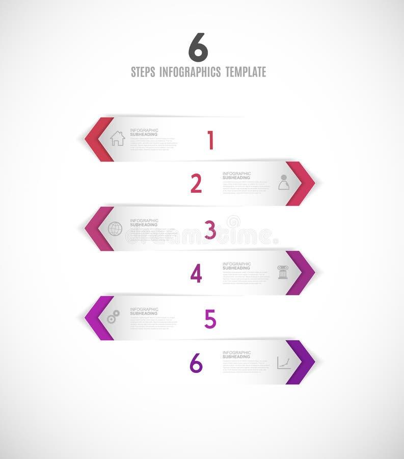 Illustratie van zes de vectorvooruitgangsstappen met pijlen, pictogrammen en pl vector illustratie