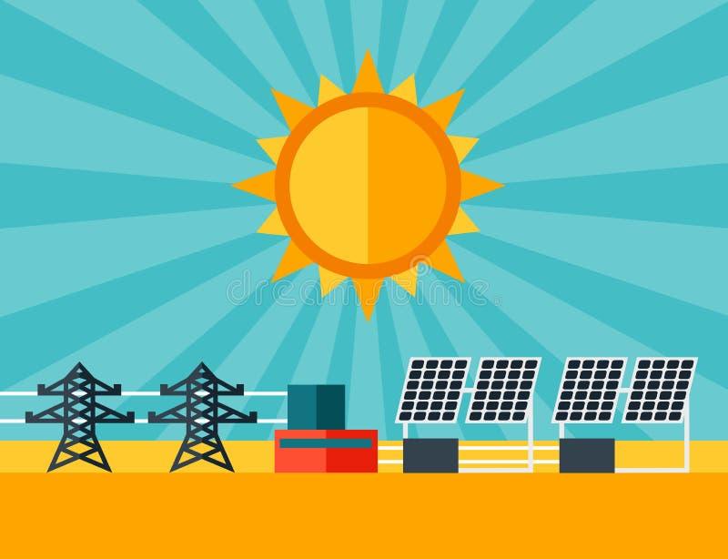 Illustratie van zonne-energieelektrische centrale in vlakte vector illustratie