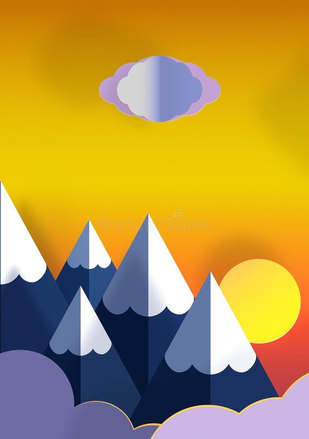 Illustratie van zonsondergang in aard stock illustratie