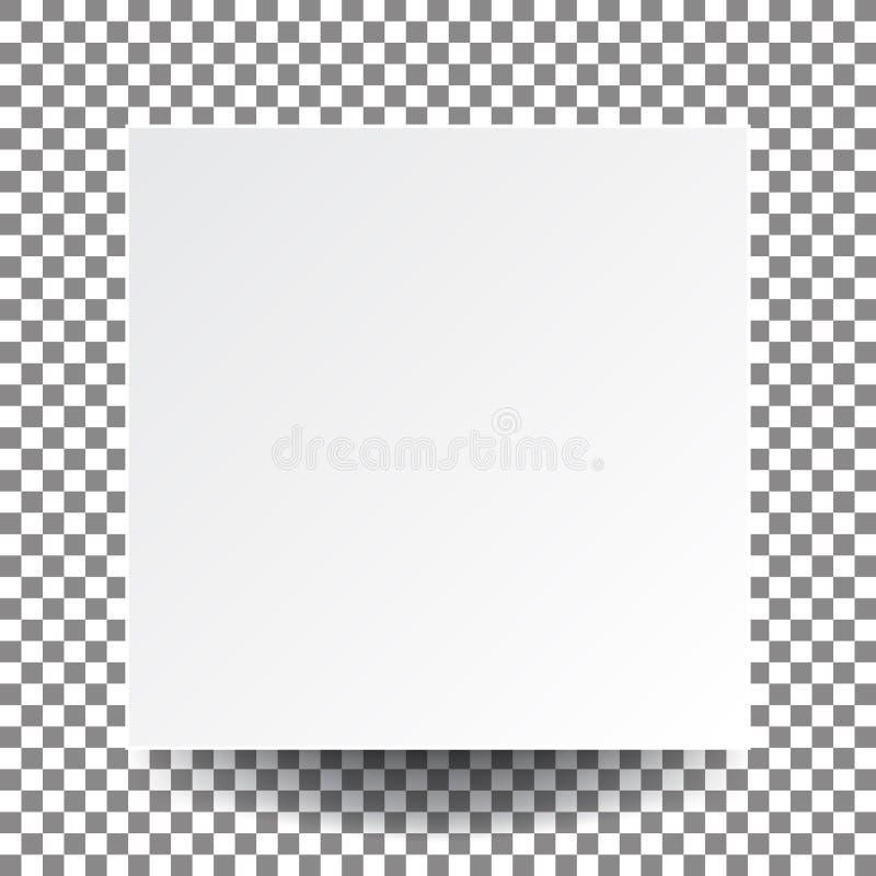 Illustratie vector leeg wit vierkant document en echte schaduw, ons stock illustratie