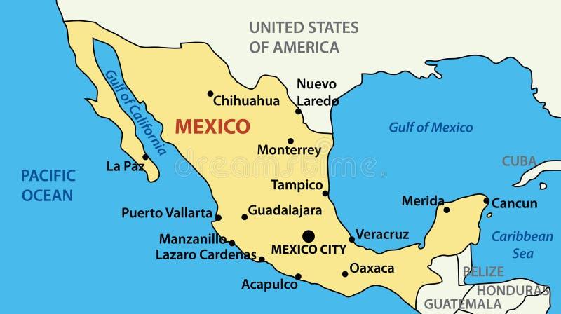 Illustratie - vectorkaart van Verenigde Mexicaanse Staten