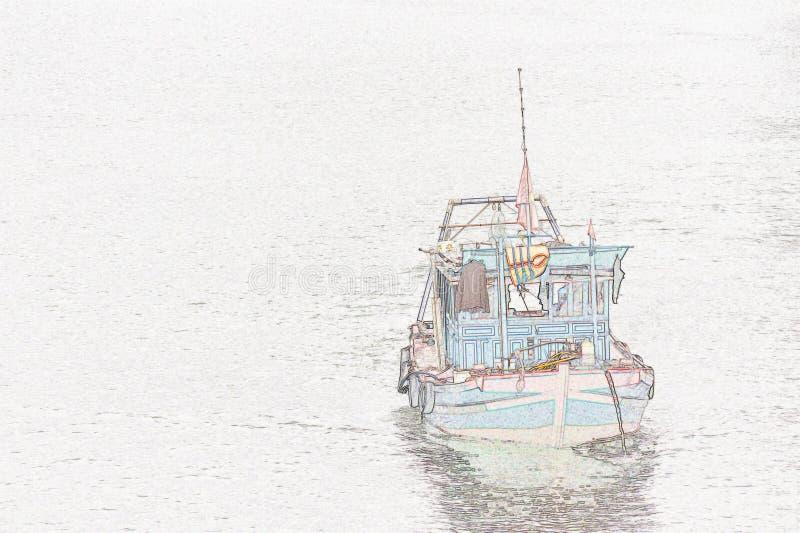 Illustratie: vissersboot royalty-vrije stock fotografie