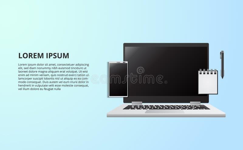 Illustratie voor bedrijfsconcepten freelance werkend bureau met laptop notitieboekje van hoogste mening stock illustratie