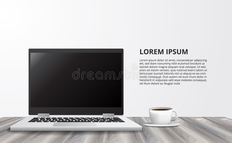 Illustratie voor bedrijfsconcepten freelance werkend bureau met laptop notitieboekje van vooraanzicht royalty-vrije illustratie
