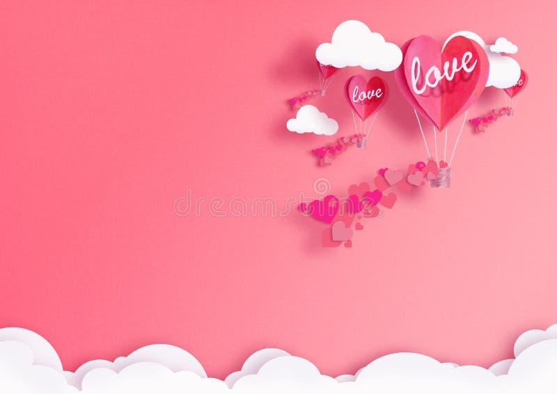 Illustratie voor de Dag van Valentine ` s Het leven hart vormde ballons het Leven Koraalvlieg onder de wolken en de lofliefde Con stock foto's