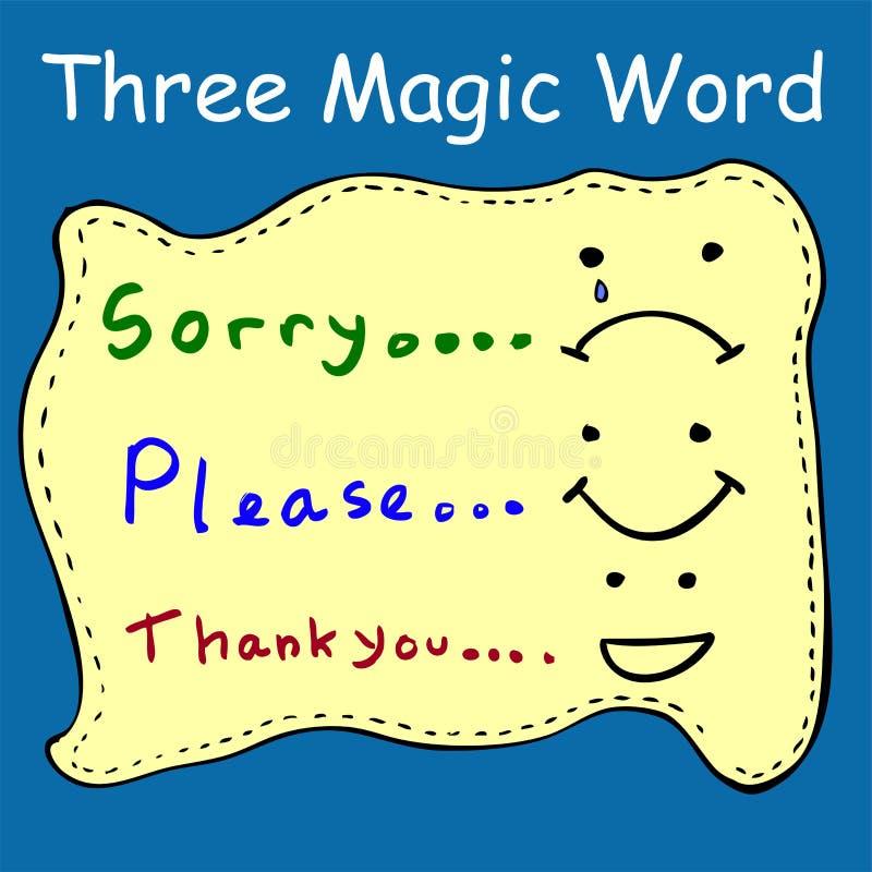 Illustratie voor Drie Magische Woorden vector illustratie