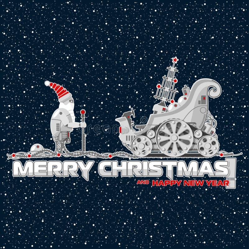 Illustratie voor Kerstmis en het nieuwe jaar Robots en mechanismen royalty-vrije illustratie