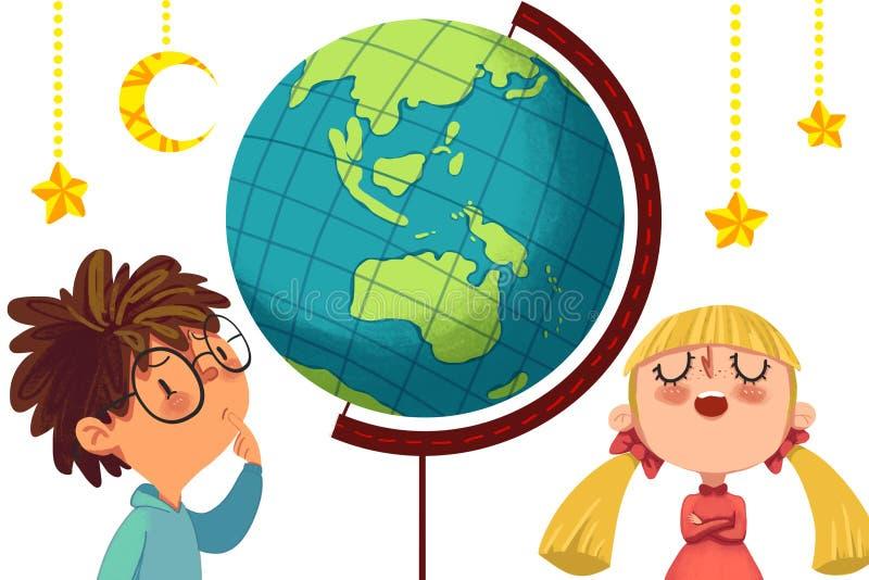 Illustratie voor Kinderen: De Grote Uitdaging tussen Meisjes en Jongens stock illustratie