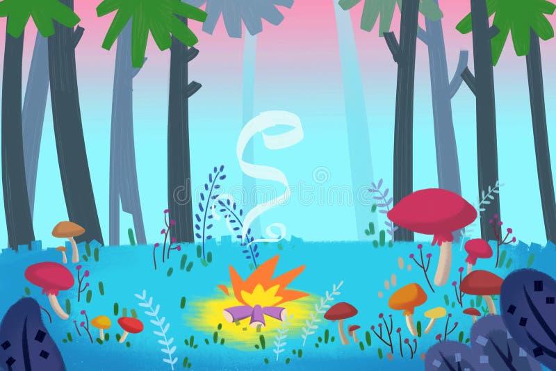Illustratie voor Kinderen: Forest Campfire stock illustratie