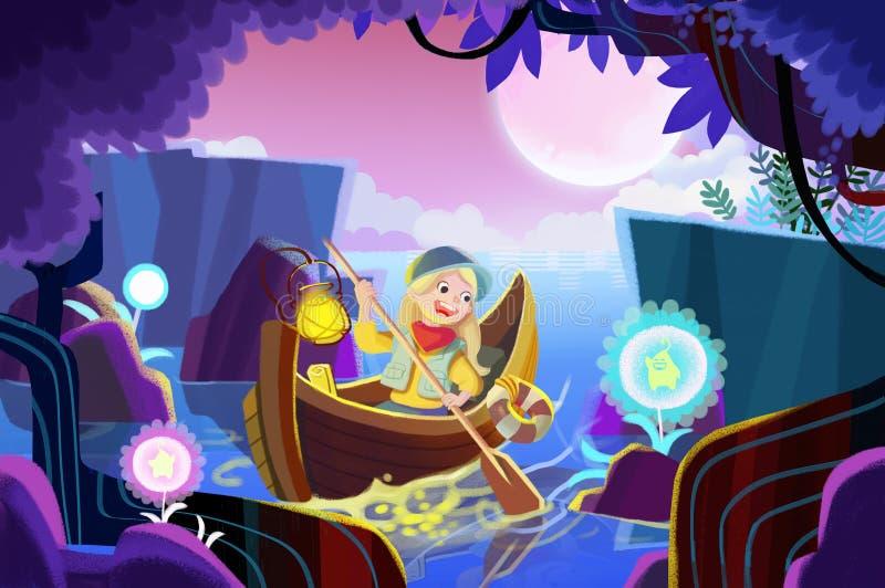 Illustratie voor Kinderen: Het Meisje ging voor een Rij Geestbloemen in het Geheime Bos plukken stock illustratie