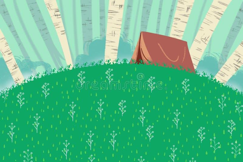 Illustratie voor Kinderen: Klein Familiekamp in een Groene Heuvel vector illustratie
