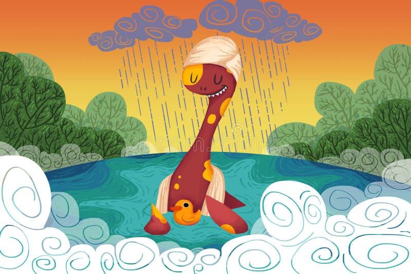 Illustratie voor Kinderen: Loch Ness Monster Provides de Gele Eend een Veilig Toevluchtsoord wanneer het regent royalty-vrije illustratie