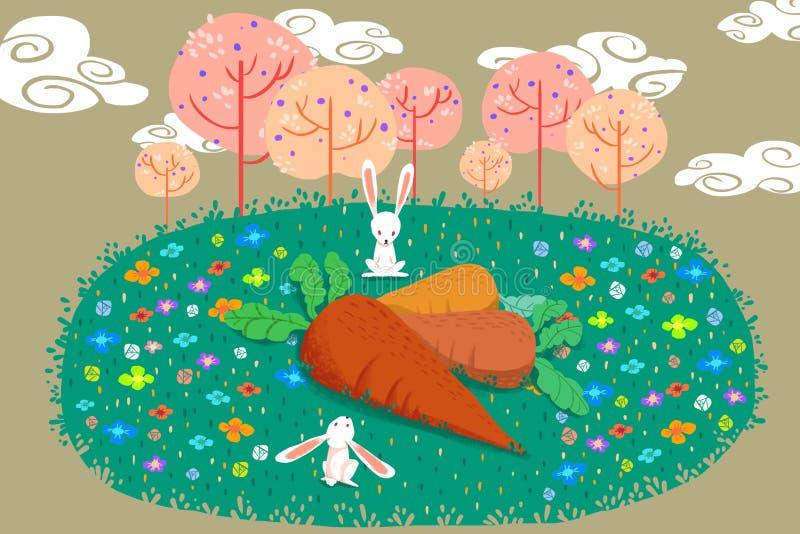 Illustratie voor Kinderen: Wat gaan wij met dit Reusachtige Wortelen doen? De Verwarde Konijnen stock illustratie