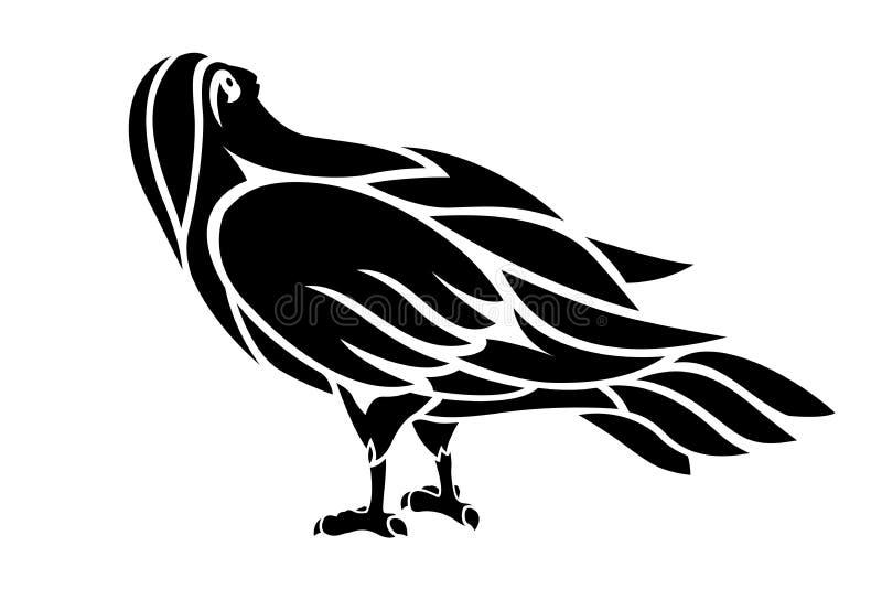 Illustratie voor tatoegering met zwart vogelsilhouet vector illustratie