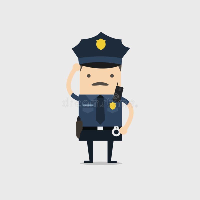 Illustratie voor u ontwerp Grappig cop beeldverhaalkarakter stock illustratie
