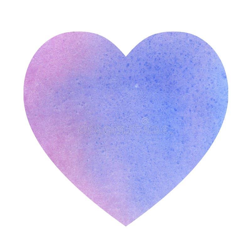 Illustratie waterkleurhart gemaakt van blauwe violette kleurvlekken ruimte voor tekst stock illustratie