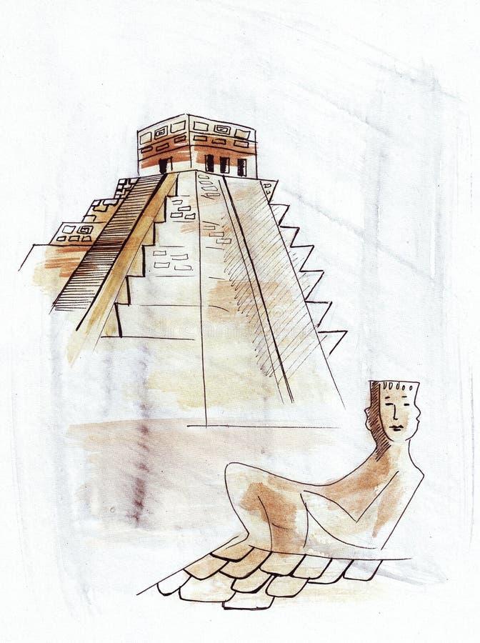 Illustratie wereldwijd van de zonpiramide wordt gekend in Mexico dat stock illustratie