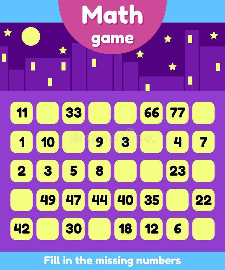 Illustratie Wiskundespel voor kleuterschool en schoolleeftijdskinderen Vul de ontbrekende aantallen Vind een opeenvolging stock illustratie